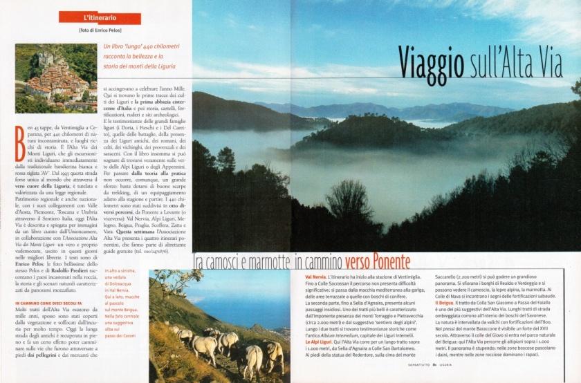 Libro Alta Via dei Monti Liguri art. su Soprattutto di Edoardo Meoli foto Enrico Pelos e Rodolfo Predieri