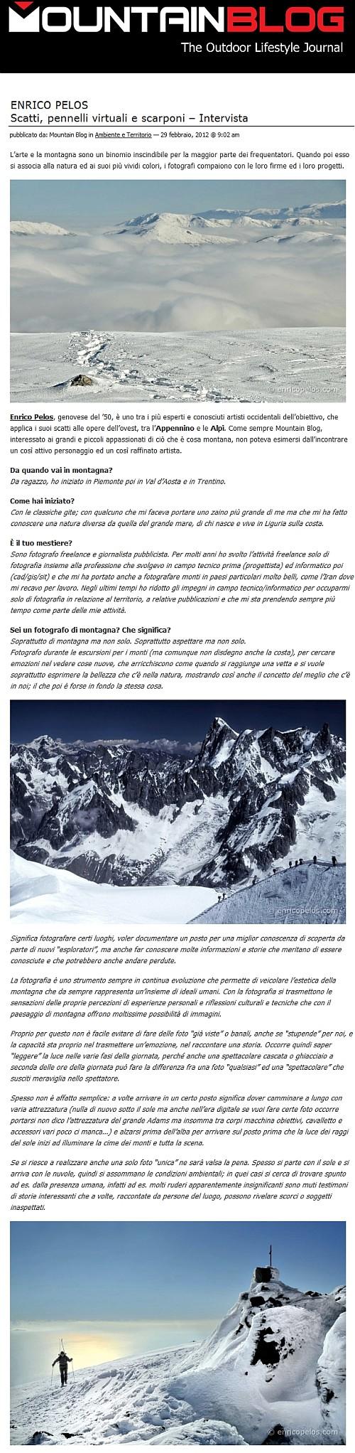 Intervista per Mountain Blog da parte di Christian Roccati