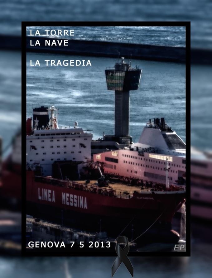 collisione nave messina contro torre controllo porto genova - messina ship destroyed genoa harbour master - ph enrico pelos