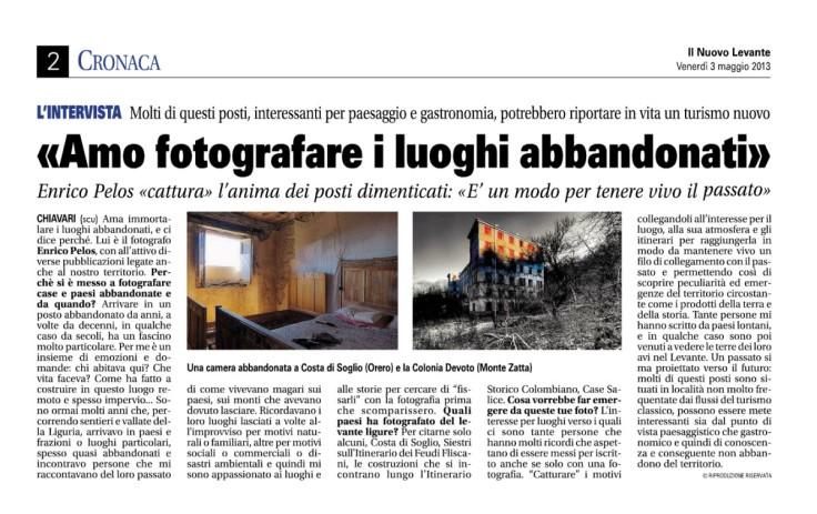 intervista di claudia sanguineti su giornale nuovo levante su luoghi abbandonati di enrico pelos